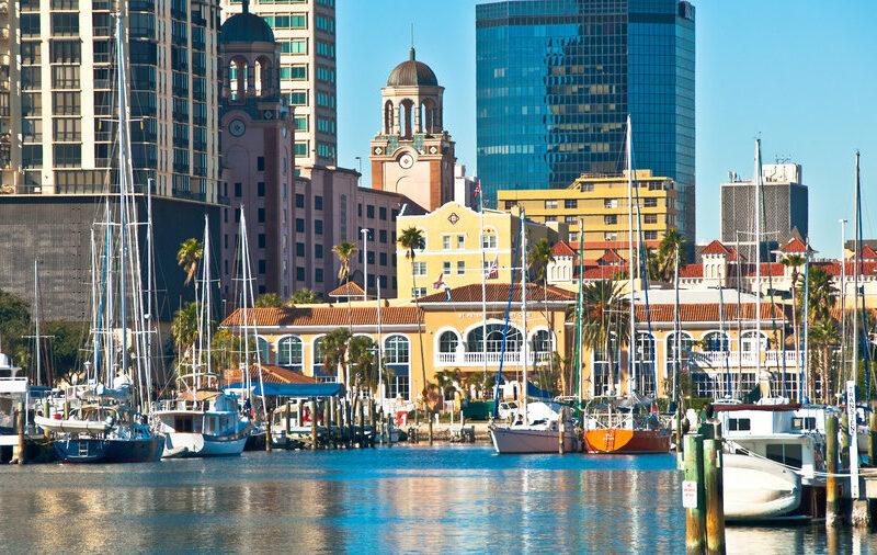 city center and yacht basin facing Tampa Bay in St. Petersburg, Florida - USA